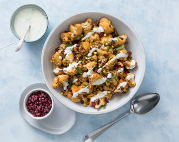 Spiced roasted cauliflower salad with minted yoghurt