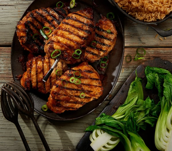 Korean Style Pork Chops with Spicy Rice and Steamed Bok Choy