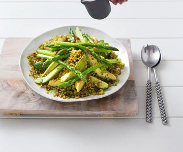 Freekeh salad with pickled avocado