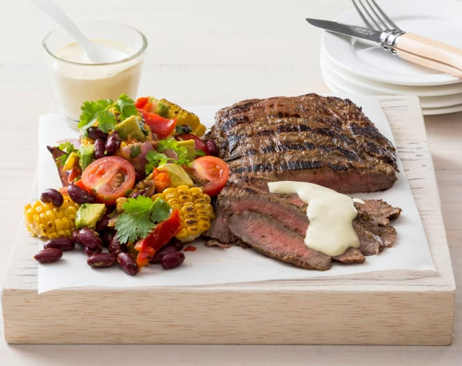 Flank steak with horseradish cream sauce