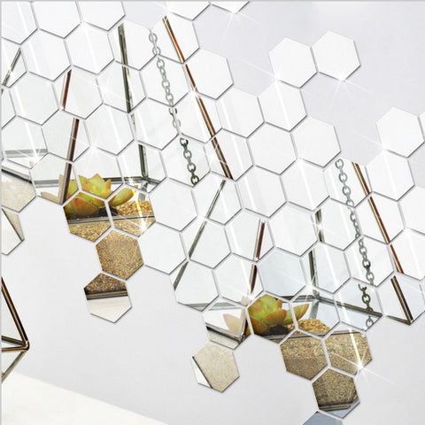 Image of 3D 12Pcs  Hexagon Sticker Mirrors