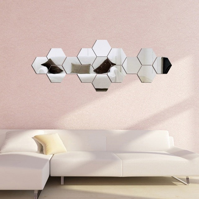3D 12Pcs  Hexagon Sticker Mirrors