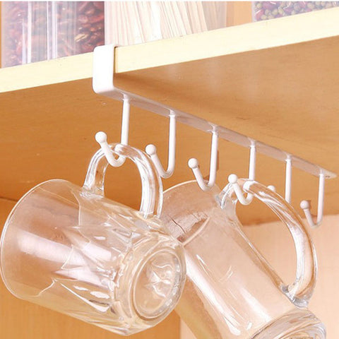 Image of Multifunctional Kitchen Ceiling Storage Hook With 6 Hooks Desk Cupboards Organiser Hanging Rack Organizer Kitchen Hanging Tool