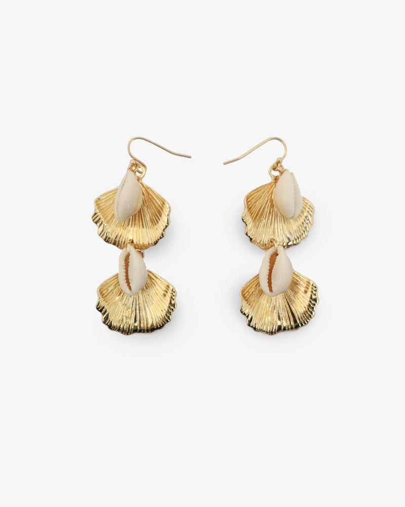 LEAF AND SEASHELL EARRINGS