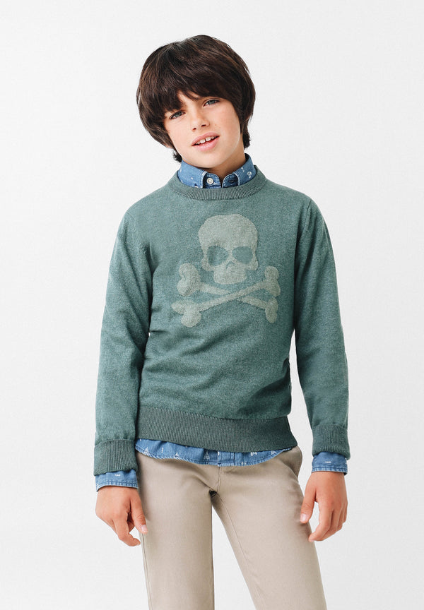 CHUNKY KNIT SWEATER WITH CONTRAST SKULL