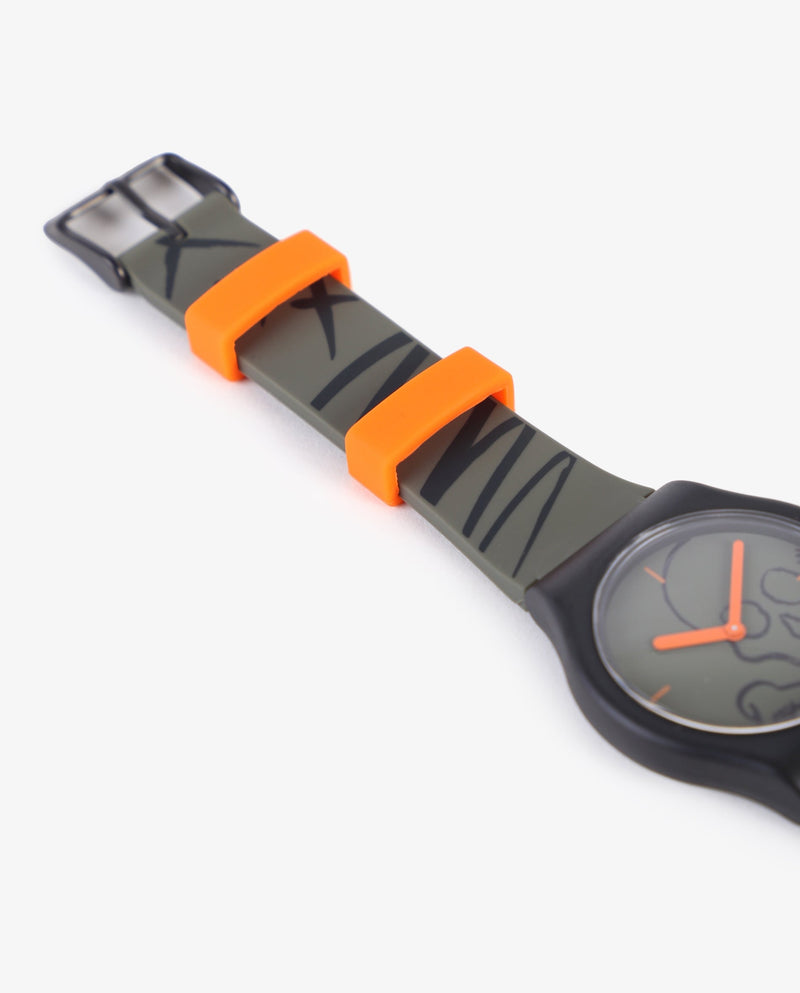 WATCH WITH PRINTED RUBBER BAND