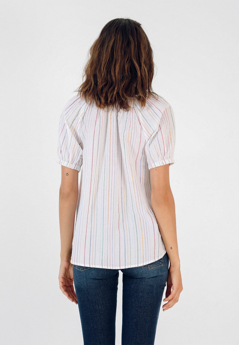 STRIPED T-SHIRT WITH PUFFED SLEEVES