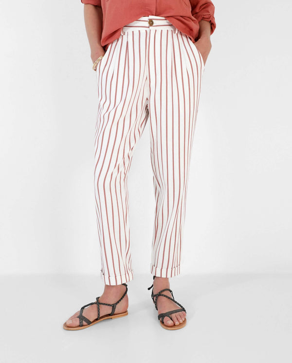 STRAIGHT CUT STRIPED TROUSERS