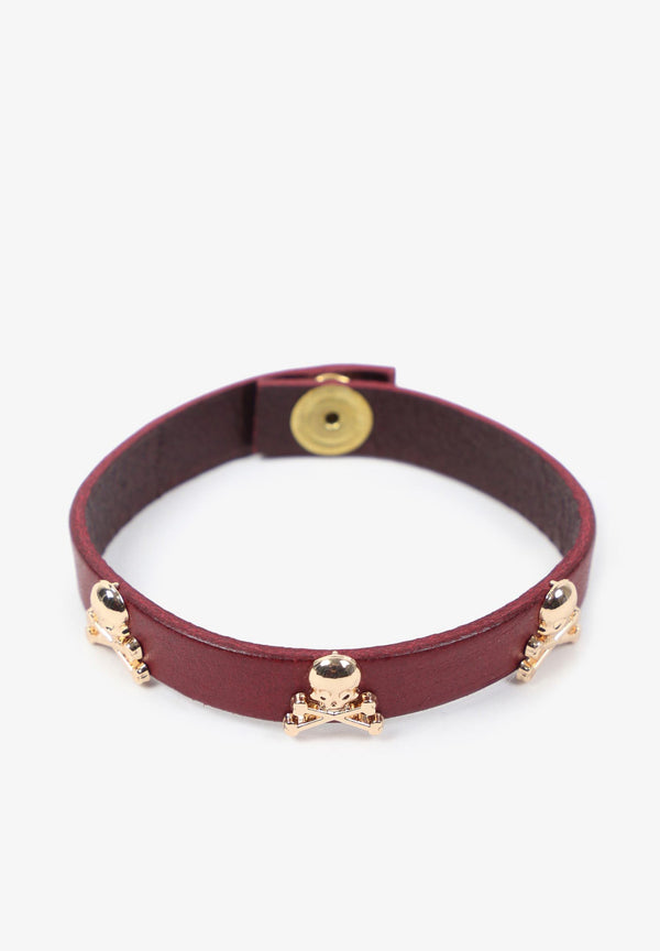 LEATHER BRACELET WITH SKULLS