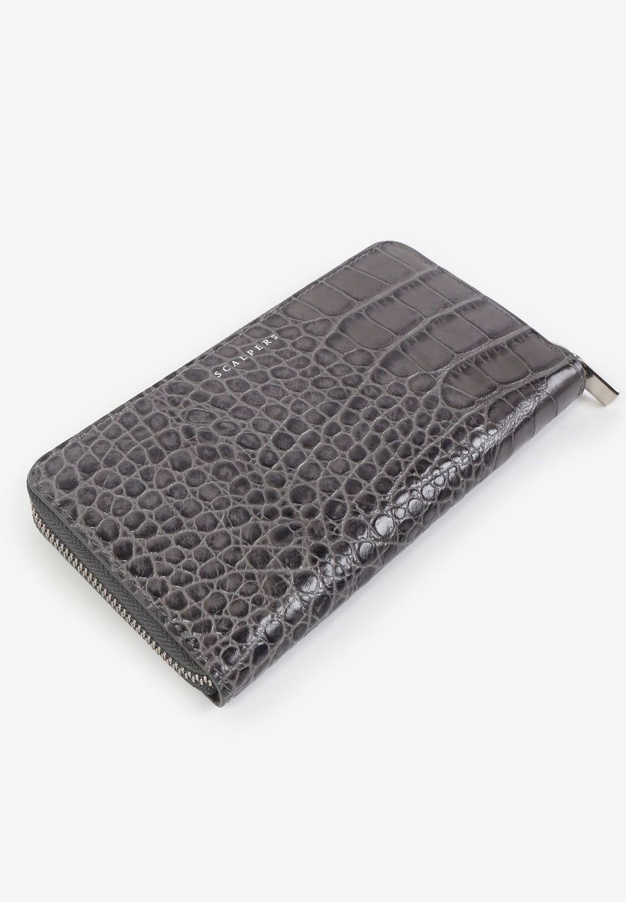 LEATHER WALLET WITH ENGRAVED CROCODILE