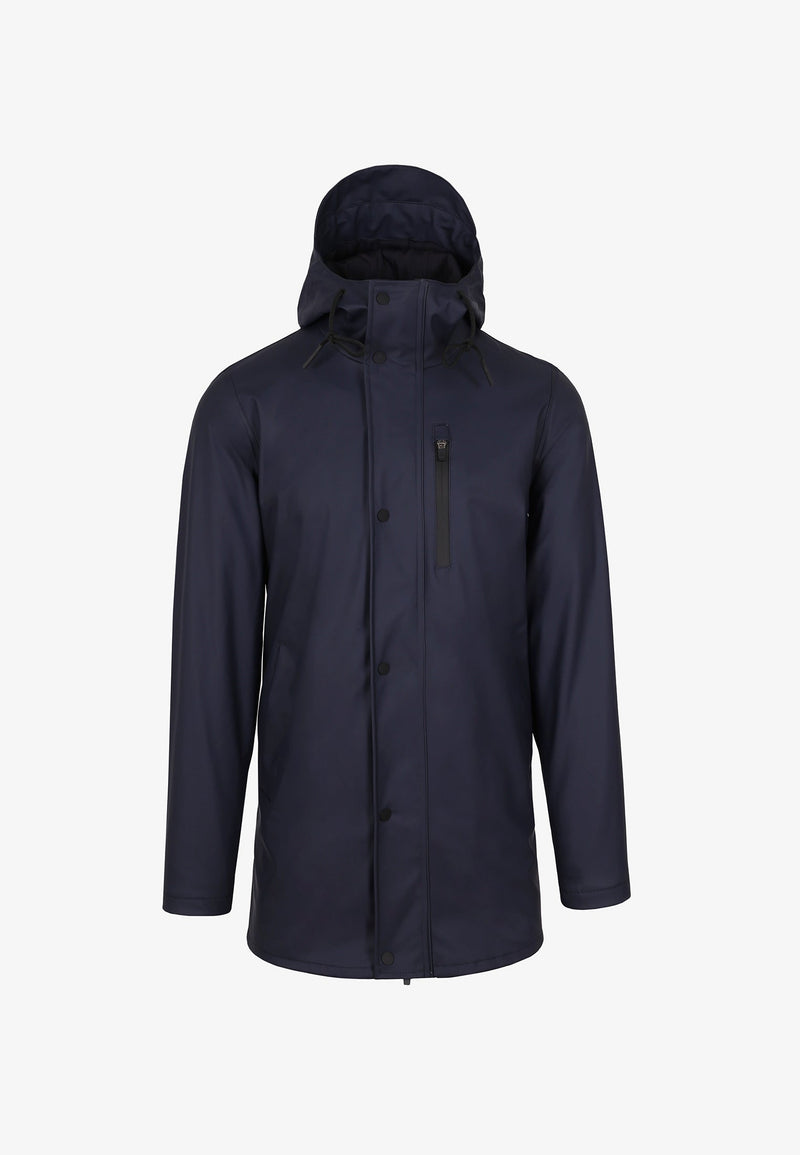 NAVY - WATERPROOF THREE QUARTER LENGTH COAT