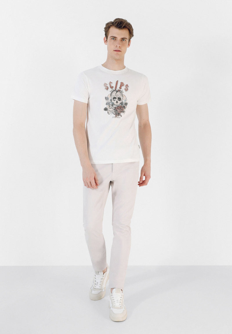 T-SHIRT WITH SKULL AND ROSES
