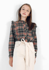 RUFFLED CHECK BLOUSE