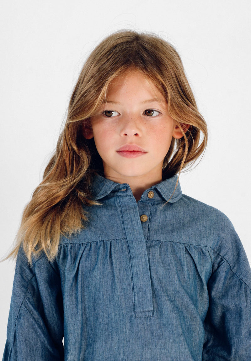 GATHERED DENIM BLOUSE