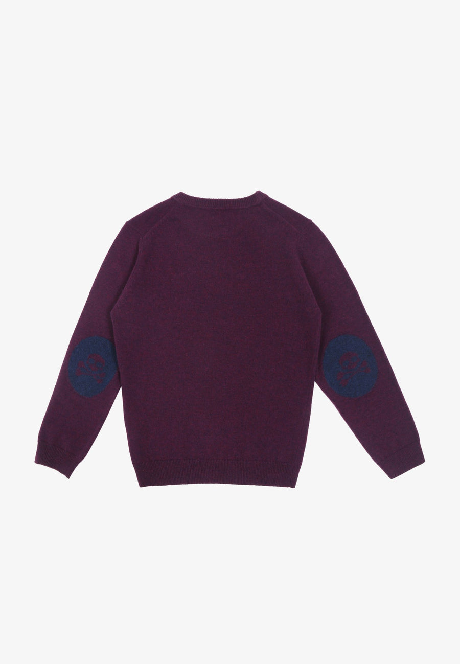 SWEATER WITH SKULL ELBOW PATCHES