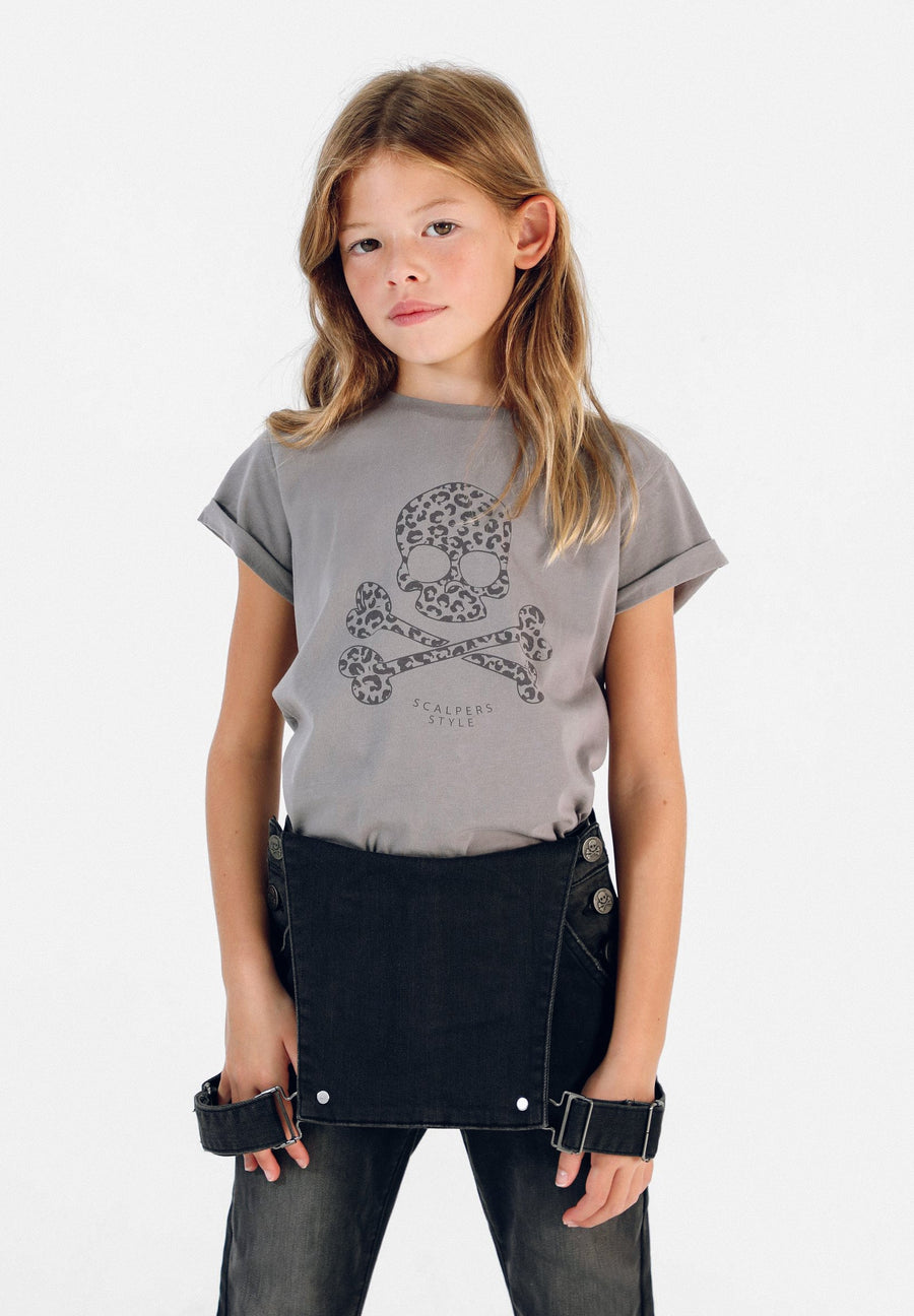 SKULL T-SHIRT WITH ANIMAL PRINT