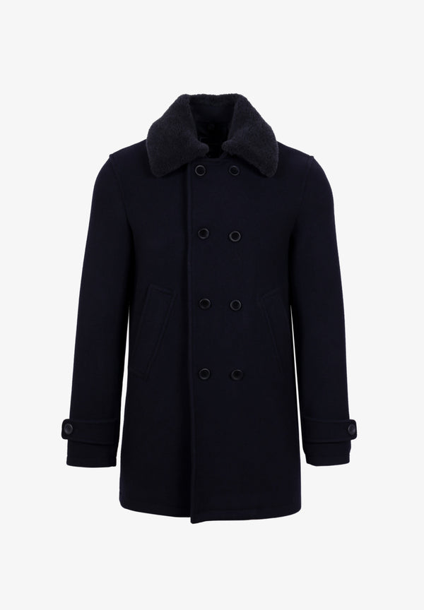 COAT WITH SHEARLING COLLAR