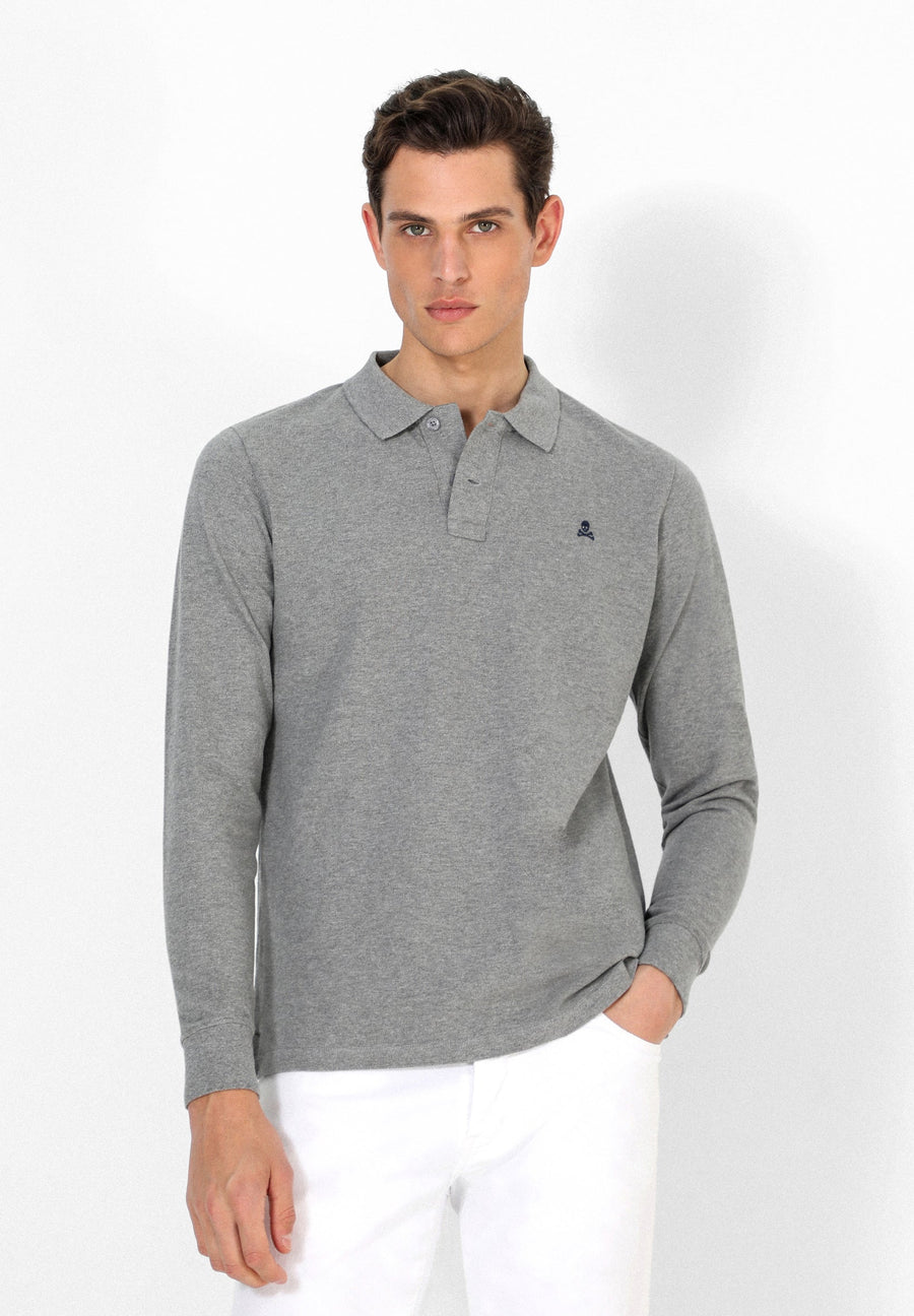 LONG SLEEVE POLO SHIRT WITH SKULL