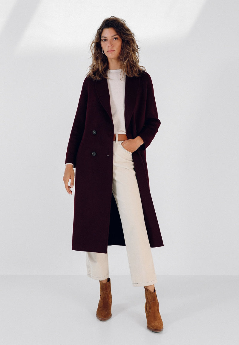LONG COAT WITH BOW BELT