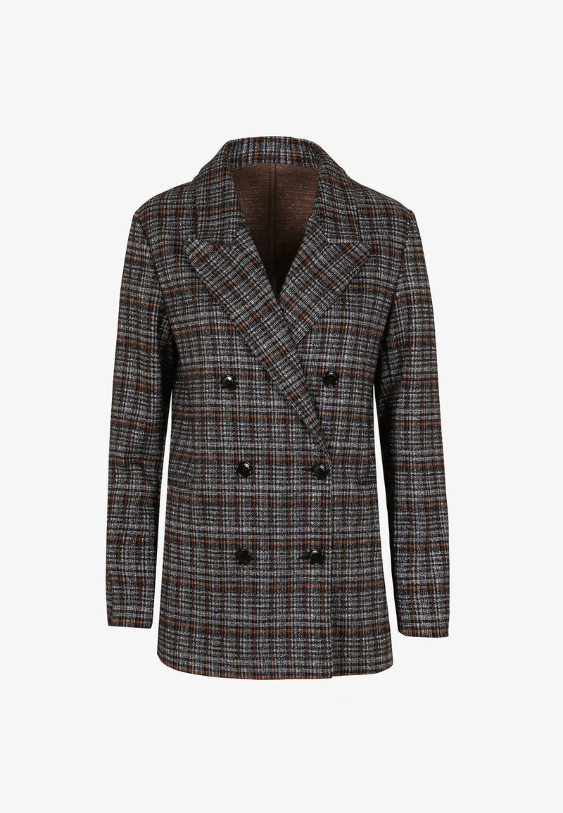 DOUBLE-BREASTED KNIT BLAZER