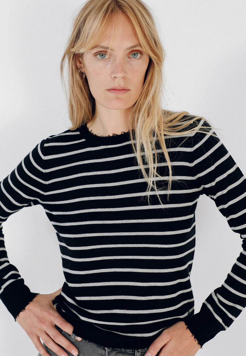 STRIPED SWEATER WITH RIPS