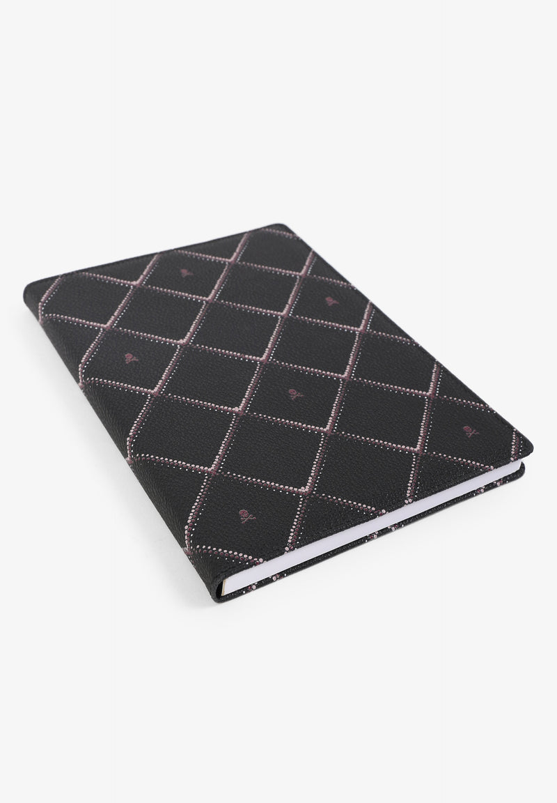 LEATHER NOTEBOOK WITH DIAMOND MOTIFS