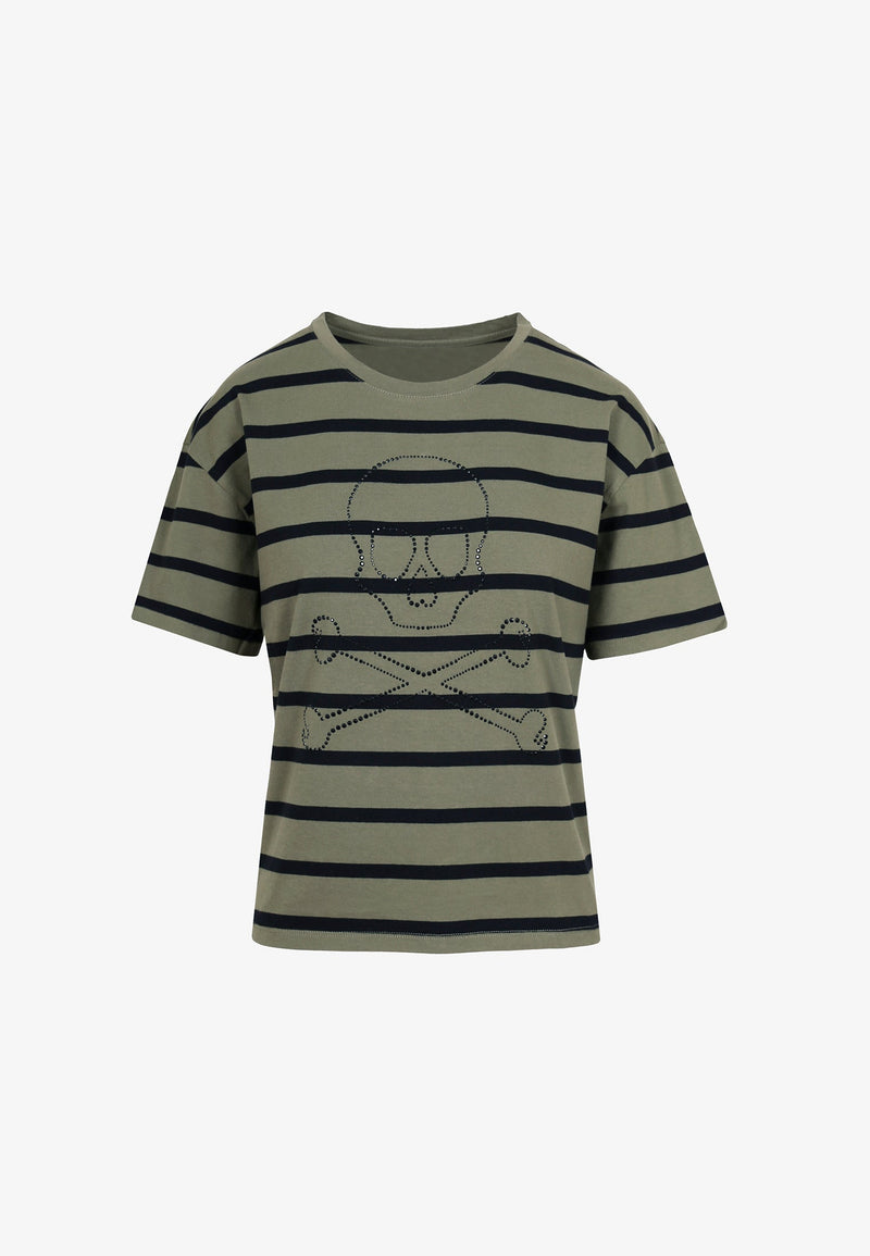 SKULL AND STRIPES T-SHIRT