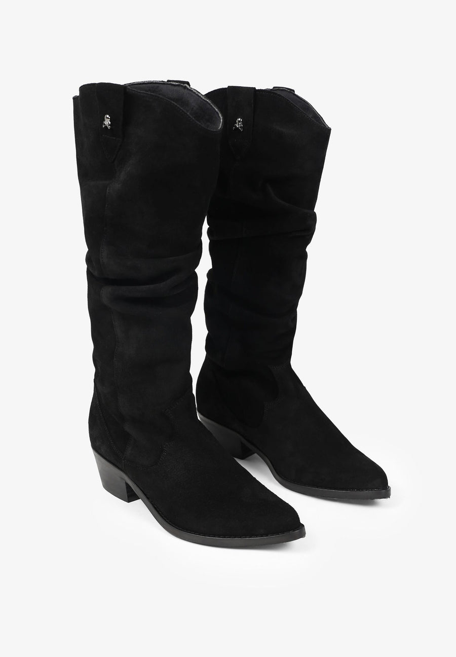 SPLIT LEATHER KNEE HIGH BOOTS