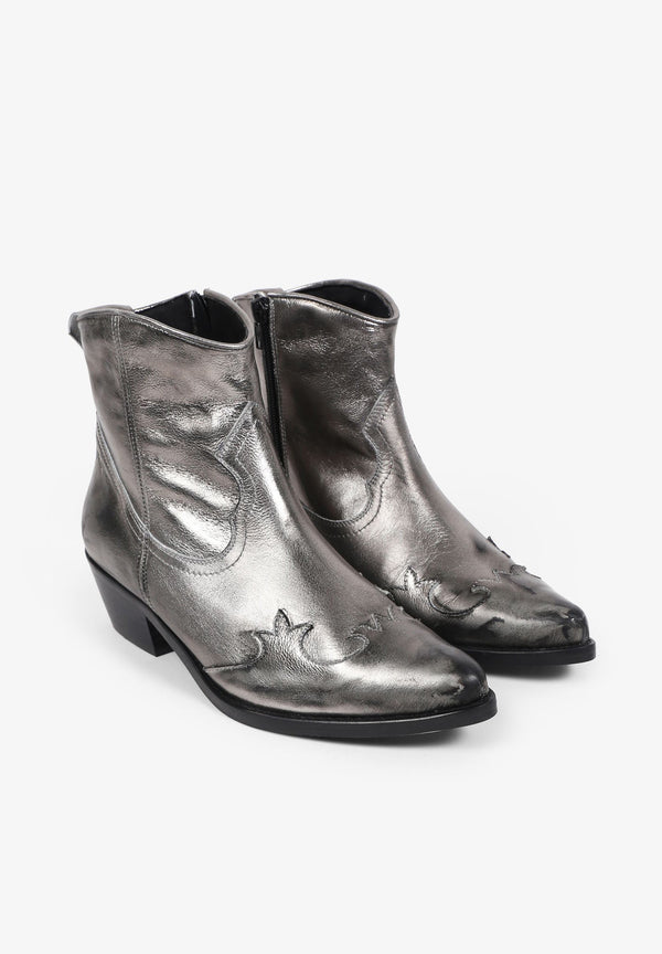 METALLIC COWBOY ANKLE BOOTS