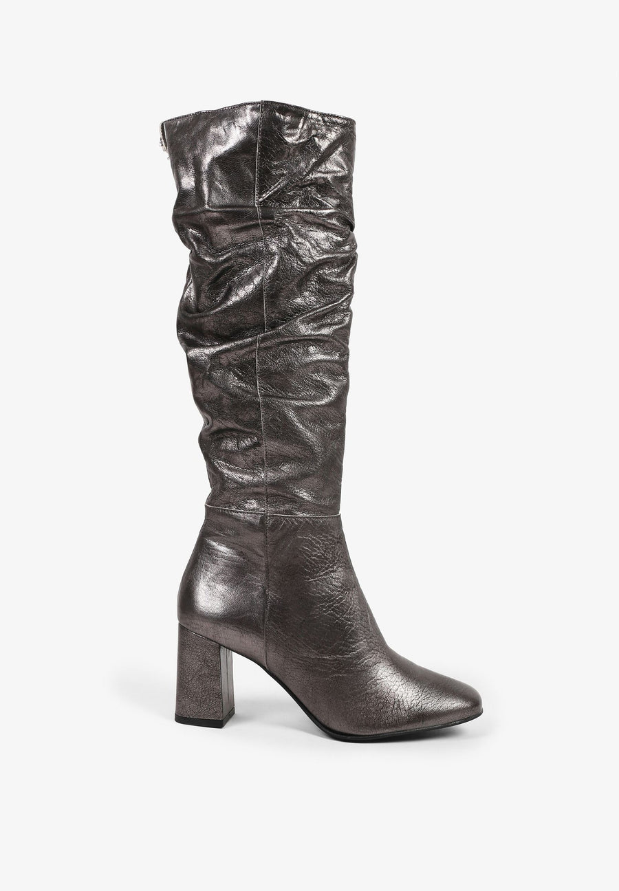 METALLIC KNEE HIGH BOOTS