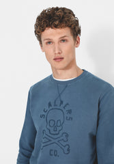 FADED SWEATSHIRT WITH SKULL LOGO