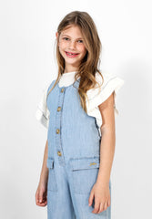 FLOWING DENIM DUNGAREES