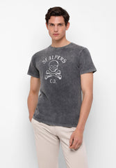 T-SHIRT WITH STITCHED SKULL