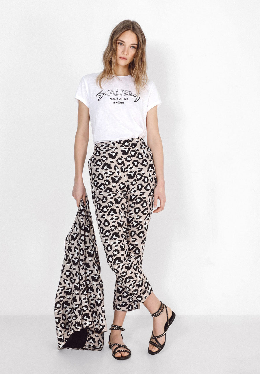 ANIMAL PRINT LINEN TROUSERS