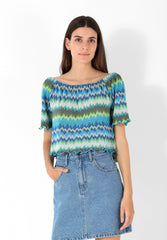 MULTI-COLOURED CHUNKY KNIT TOP