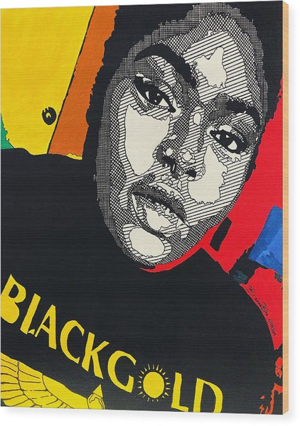 Chika - Black Gold - Wood Print