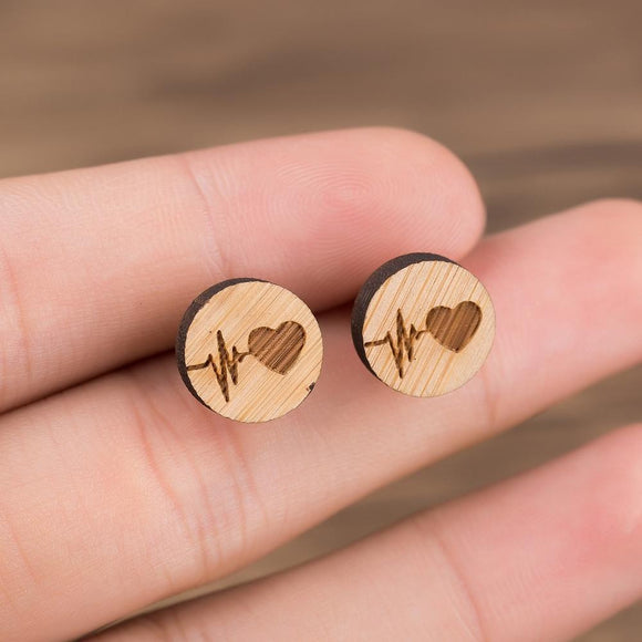 Heart Wood Wooden Vintage Round Steel Stud Earrings - wayne-whale