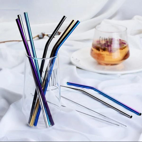 1pc Stainless Steel Straw - Reusable + 1 Brush - wayne-whale