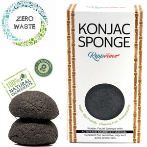 Bamboo Charcoal Sponge for Impure Oily Skin - (2 piece) - wayne-whale