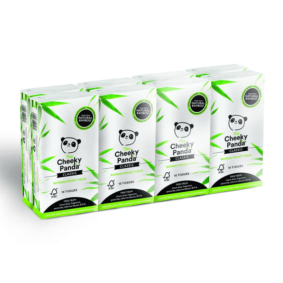 The Cheeky Panda 100 Percent Bamboo Pocket Tissue, Pack of 8 - wayne-whale