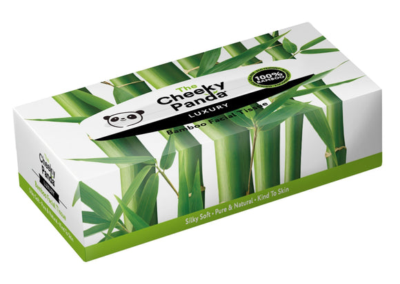 The Cheeky Panda 100 Percent Bamboo Facial Tissue Flat Box, Pack of 80 Tissues - wayne-whale