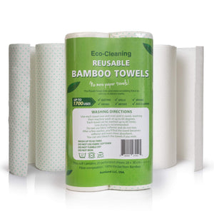Bamboo Reusable Paper Towels - Washable - 2 Rolls, 40 Sheets, - wayne-whale
