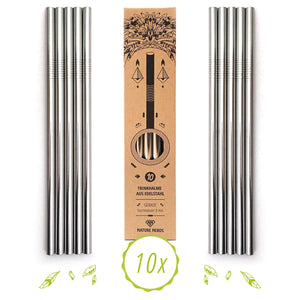 10 pcs Reusable Stainless Steel Drinking Straws - wayne-whale