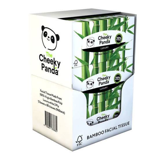 The Cheeky Panda 100 Percent Bamboo Facial Tissue Flat Box, Pack of 12, Total 960 Tissues - wayne-whale