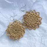 1Pair Vintage Wood Sunflower Earrings - wayne-whale