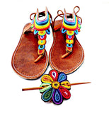 African beaded multicolored fair trade sandals, handmade - wayne-whale