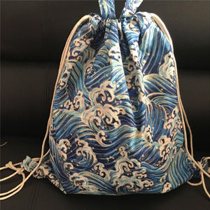 Cotton Linen Large Eco Drawstring Backpack - Blue Wave Spray - wayne-whale