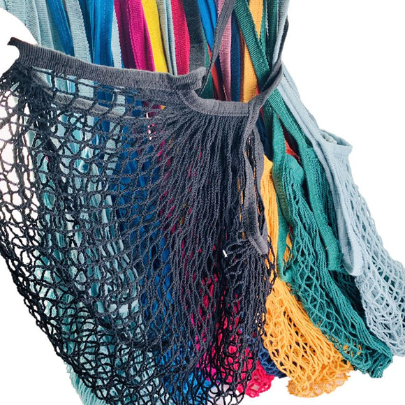 Cotton String Reusable Mesh Shopping Totes with Long Handles - wayne-whale