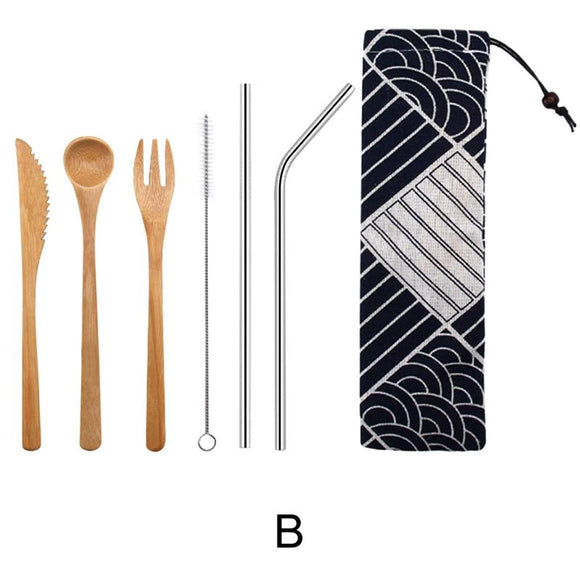 Bamboo Cutlery Set - Straw Cutlery Spoon Fork Set With Cloth - wayne-whale