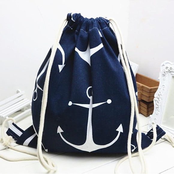 Cotton Linen Drawstring Backpack - Anchor Blue - wayne-whale
